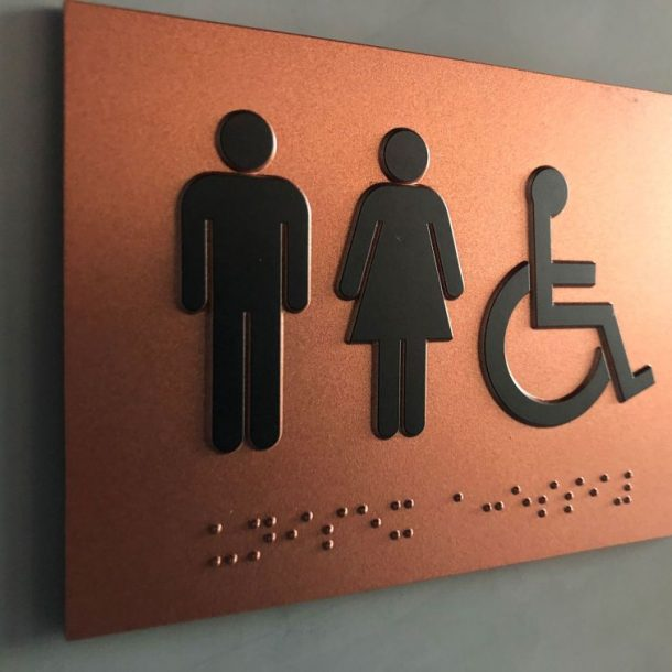 ADA compliant signage, ada signage requirement 2020, custom ada signage, braille, restroom, interior